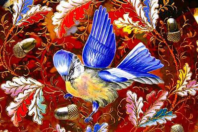 Digital Art - Blue Bird Leaves by Marianne Dow