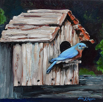 Painting - Blue Bird On Lake Odom by Jan Dappen