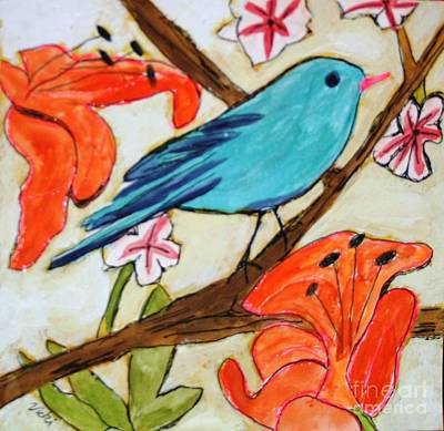Painting - Blue Bird Orange Flowers by Victoria Hasenauer