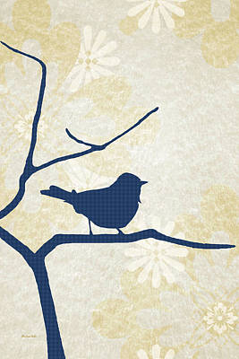 Mixed Media - Blue Bird Silhouette Modern Bird Art by Christina Rollo