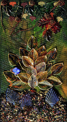 Mixed Media - Blue Bird Singing In An Autumn Tree by Donna Blackhall
