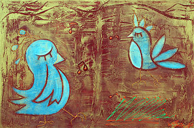Bluebird Mixed Media - Blue Birds by Laura Barbosa