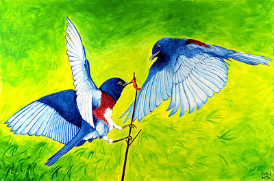 Painting - Blue Birds by Marilyn Hilliard