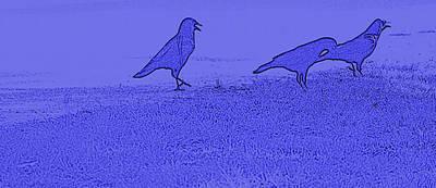 Digital Art - Blue Black Birds by Bartz Johnson