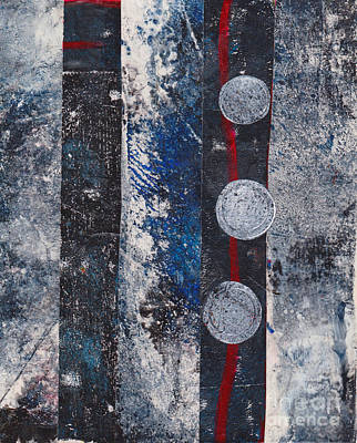 Mixed Media - Blue Black Collage by Patricia Cleasby