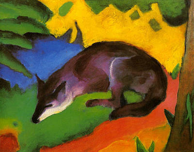 Painting - Blue-black Fox by Franz Marc
