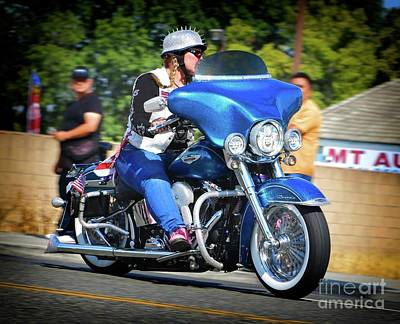 Photograph - Blue Bling Rider by Gus McCrea