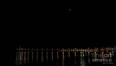 Photograph - Blue Blood Moon 2018 Ventura, California Pier by John A Rodriguez