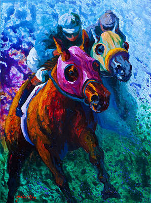 Horse Racing Painting - Blue Bloods by Marion Rose