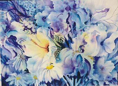 Blue-blossoms Art Print by Nancy Newman