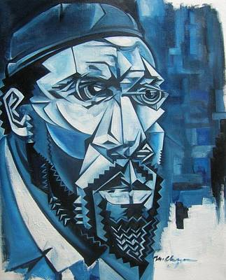 Wall Art - Painting - Blue Blue Monk by Martel Chapman