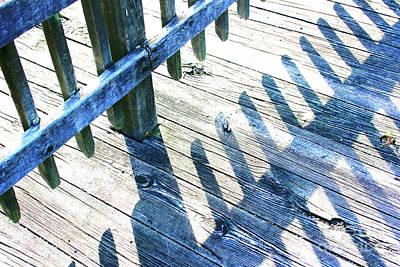 Photograph - Blue Boardwalk Shadows And Glitter by Karen Adams