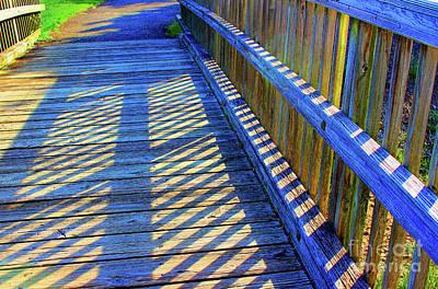 Photograph - Blue Boardwalk Shadows by Karen Adams