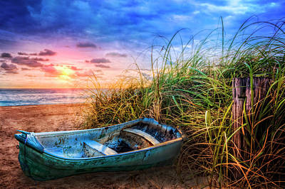 Photograph - Blue Boat At The Seashore by Debra and Dave Vanderlaan