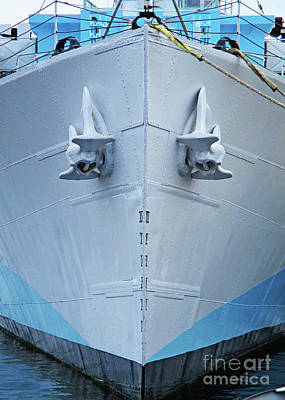 Photograph - Blue Boat Bow by Randall Weidner