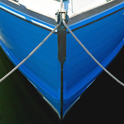 Photograph - Vintage Old Blue Wooden Boat Bow by Charles Harden