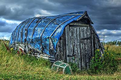 Crab Traps Photograph - Blue Boat Hut by Chris Whittle