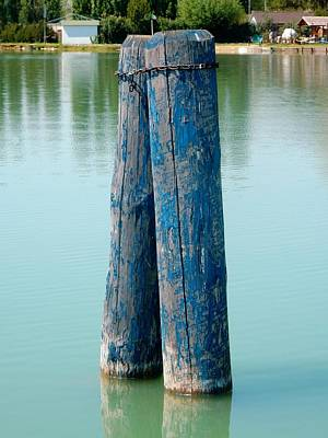 Photograph - Blue Boat Piles by Dorothy Berry-Lound