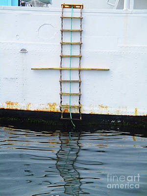 Photograph - Blue Boat Rope Ladder by Randall Weidner