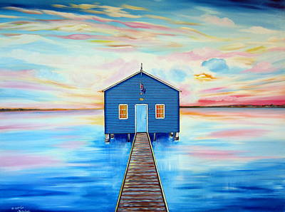 Painting - Blue Boat Shed By The Swan River Perth by Roberto Gagliardi