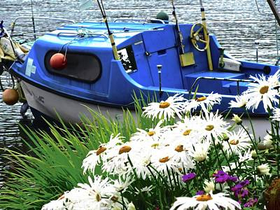 Photograph - Blue Boat With Daisies by Stephanie Moore