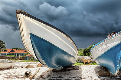 Photograph - Blue Boats And Dark Clouds by Stuart Wilson