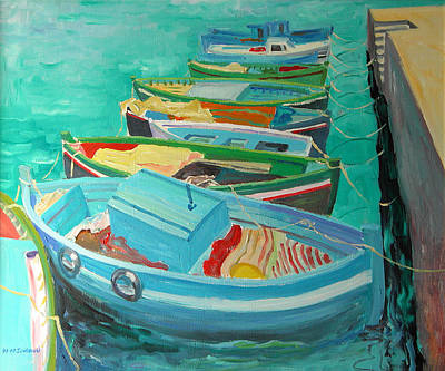 Tied-up Painting - Blue Boats by William Ireland