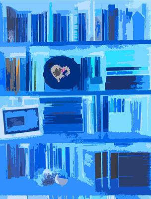 Que Photograph - Blue Bookshelf by Bravo La Fourmi