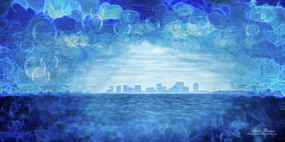 Digital Art - Blue Boston Skyline by Mike Braun