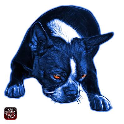 Digital Art - Blue Boston Terrier Art - 8384 - Wb by James Ahn