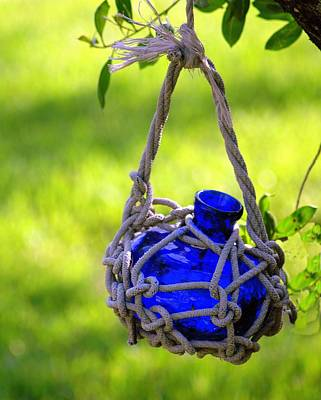 Photograph - Small Blue Bottle Garden Art by Ginger Wakem