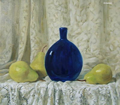 Painting - Blue Glass Flask And Lace Tablecloth by Robert Holden