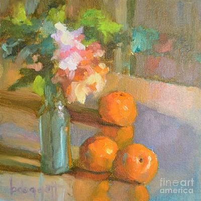 Tangerine Painting - Blue Bottle by Barbara Daggett