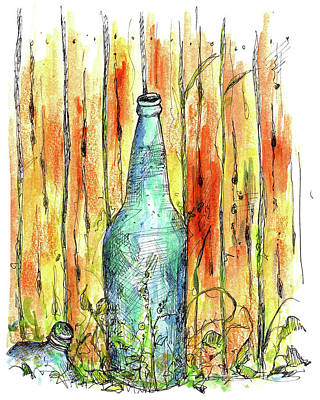 Ghost Towns Drawing - Blue Bottle by Cathie Richardson