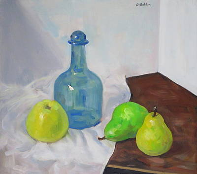 Painting - Blue Bottle, Fruit And White Cloth by Robert Holden