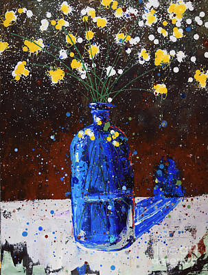 Splashy Painting - Blue Bottle And Flowers by Michael Glass