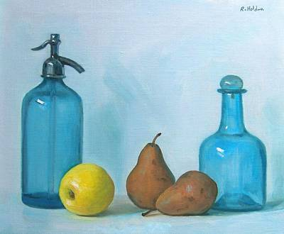 Painting - Blue Glass With Fruit by Robert Holden