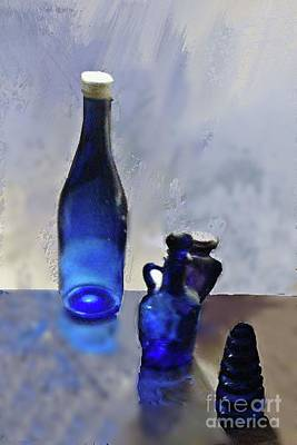 Mixed Media - Blue Bottles And The Light by Janette Boyd