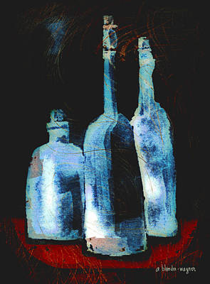 Computer Art Digital Art - Blue Bottles by Arline Wagner