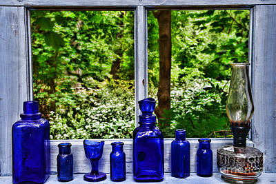 Country Scene Photograph - Blue Bottles On Window Sill by Paul Ward