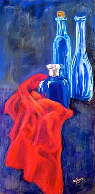 Pastel - Blue Bottles With Orange Cloth by Barbara O'Toole