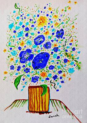 Abstract Flowers Drawings - Blue Bouquet in a Yellow Vase  by Sarah Loft