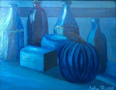 Naturmort Painting - Blue Bowl by John Russo