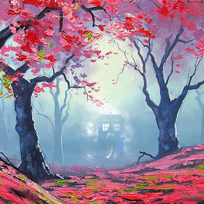 Payphone Painting - Blue Box Cloud Sakura Painting  by Koko Priyanto