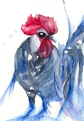 Painting - Blue Bresse Rooster by Dawn Derman
