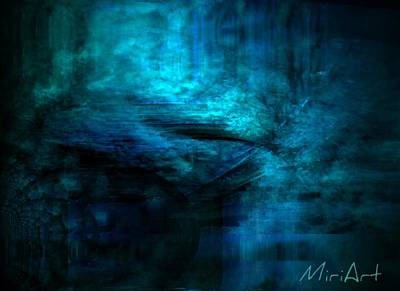 Blue Bridge Abstract Art Print by Miriam Shaw