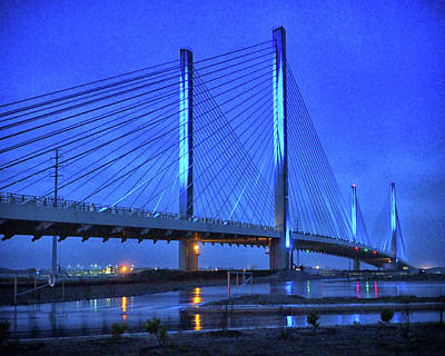 Photograph - Blue Bridge In The Rain At Indian River Inlet by Bill Swartwout Photography