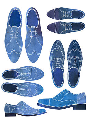 Shoes Painting - Blue Brogue Shoes by Nic Squirrell
