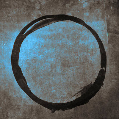 Abstract Expressionism Wall Art - Painting - Blue Brown Enso by Julie Niemela