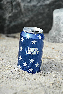 Beer Mixed Media - Blue Bud Light by Trish Tritz